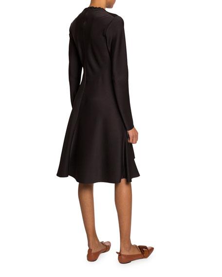 Chloe Long-Sleeve Gathered Satin Dress