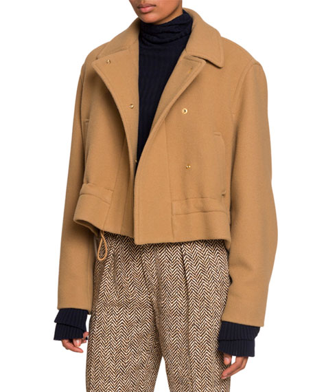 Chloe Snap-Front Jacket with Drawcord