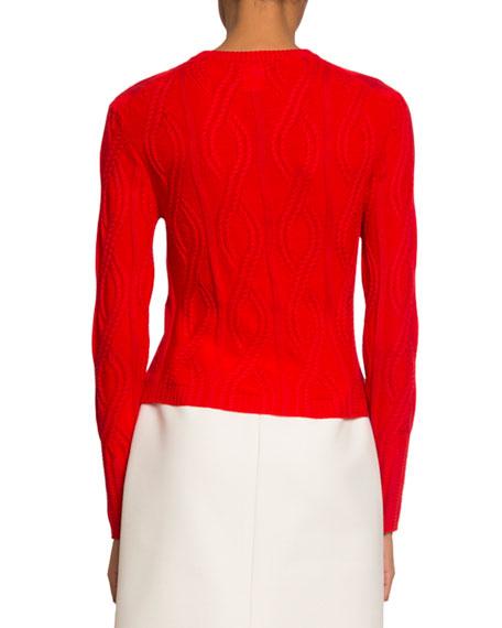 Chloe Crewneck Cable-Knit Wool-Silk Sweater