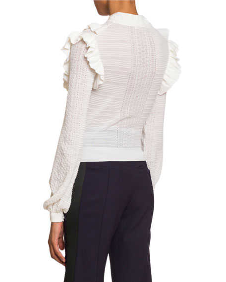 Chloe Ruffle-Front High-Neck Sweater