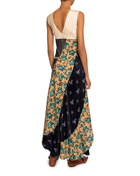 Chloe Floral Patchwork Crepe de Chine V-Neck Dress