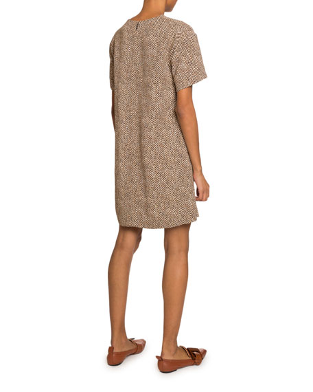 Chloe Short-Sleeve Herringbone Dress
