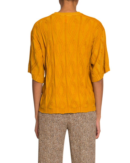 Chloe Short-Sleeve Cable-Knit Wool-Silk Sweater