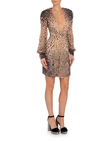 TOM FORD Embellished Full-Sleeve Mini Dress