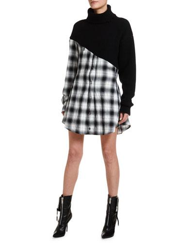 Wool-Cashmere Hybrid Plaid Shirtdress