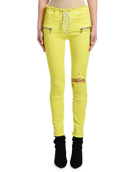 UNRAVEL Overdyed Lace-Up Skinny Jeans