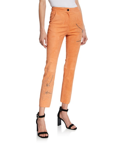 Nour Hammour Pants TROPICAL-STUDDED SUEDE PANTS