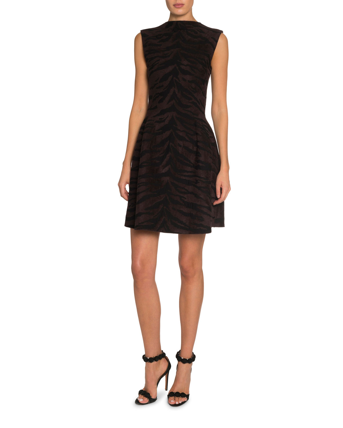 ALAIA Tiger-Striped Black Velvet Mini Dress