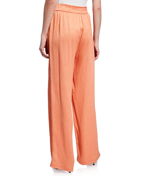 Sally LaPointe Hammered Satin Smocked Wide-Leg Track Pants