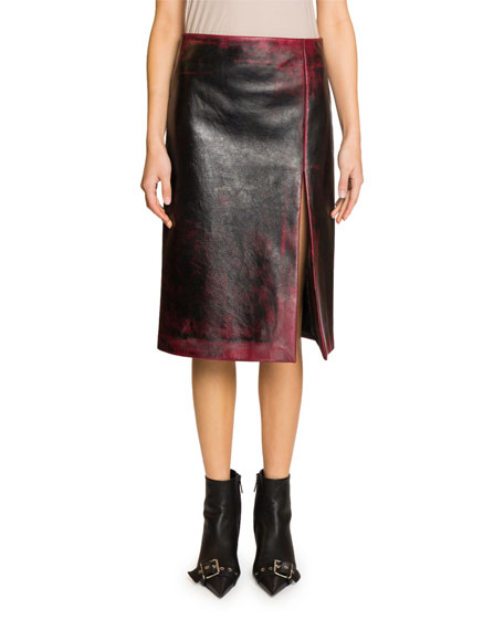 Balenciaga High-Slit Grainy Leather Skirt