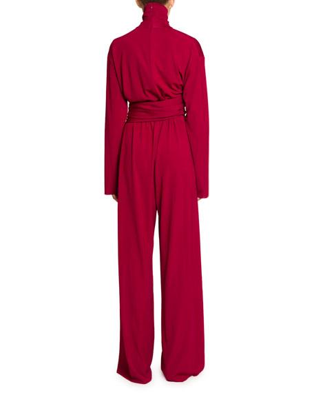 Balenciaga Draped Milano Jersey Turtleneck Jumpsuit