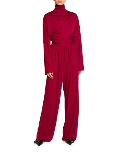 Draped Milano Jersey Turtleneck Jumpsuit