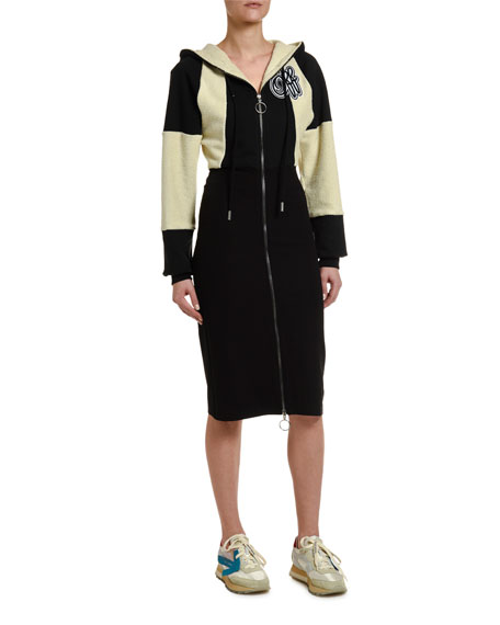 Off-White Zip-Front Two-Tone Hoodie Dress