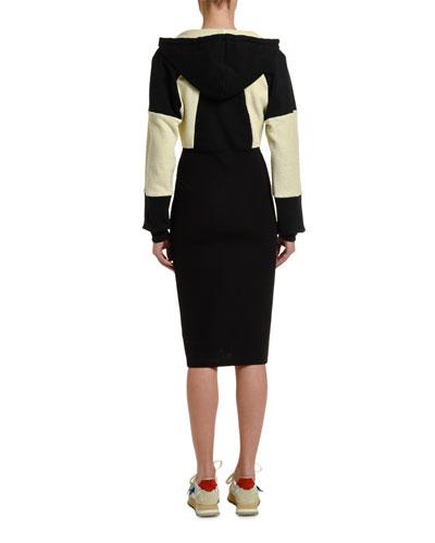 Zip-Front Two-Tone Hoodie Dress