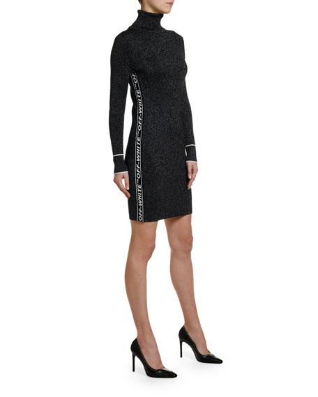 Off-White Shimmer Logo-Taped Turtleneck Dress
