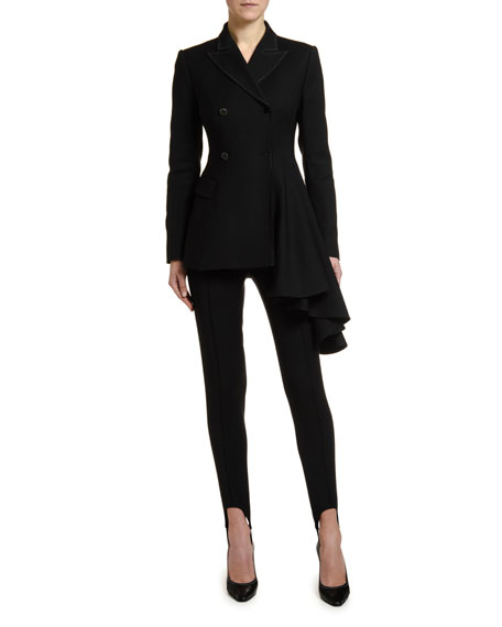 Off-White Draped-Side Wool Blazer Jacket