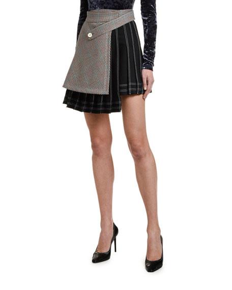 Off-White Checked Multi-Panel Mini Skirt