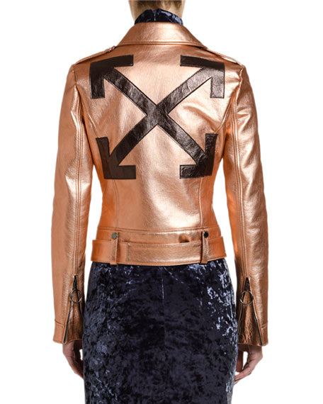 Off-White Copper Leather Biker Jacket