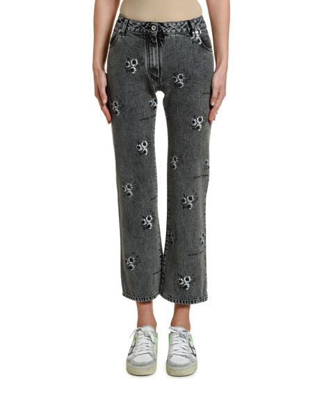 Off-White Floral Embroidered Cropped Jeans