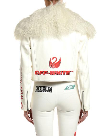 Off-White Shearling Collar Logo-Print Leather Aviator Jacket