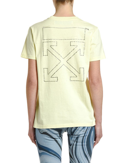 Off-White Short-Sleeve Shifted  Casual Tee, Yellow