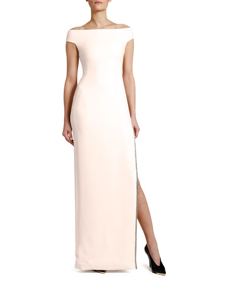 Stella McCartney Off-the-Shoulder Crystal-Trim Gown