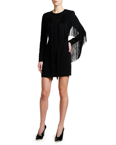 Stella McCartney Fringe-Front Crewneck Mini Dress