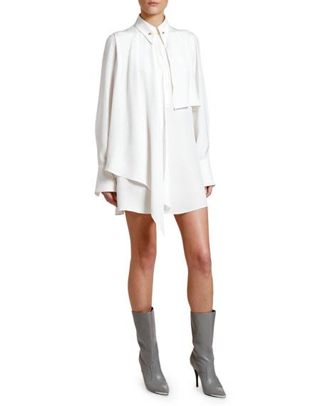 Stella McCartney Scarf-Neck Long-Sleeve Mini Shirtdress