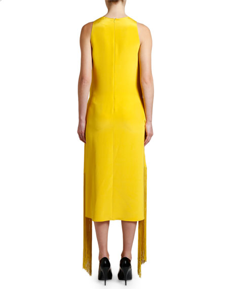 Stella McCartney Fringe-Belt Sleeveless Midi Dress