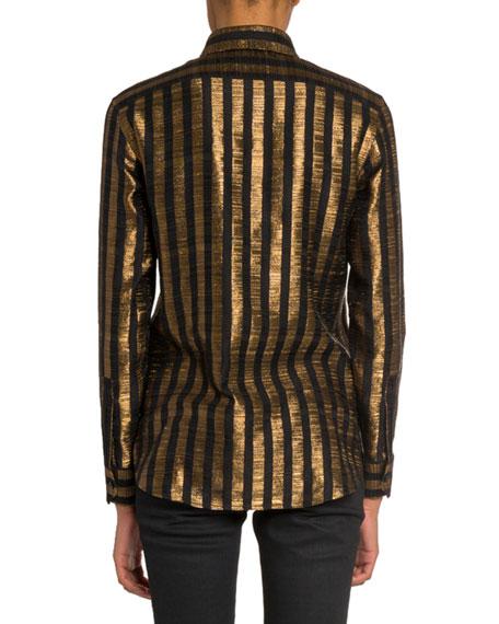 Saint Laurent Striped Lame Long-Sleeve Button-Front Blouse