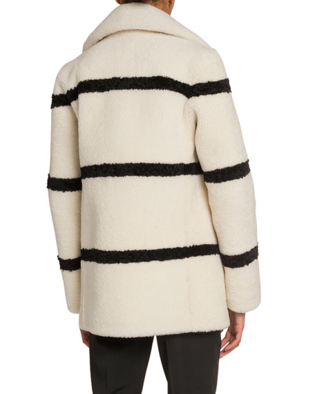 Saint Laurent Striped Shearling Pea Coat