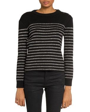 ef57eb96bd36db Saint Laurent Shimmer-Striped Crewneck Sweater