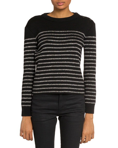 Saint Laurent Shimmer-Striped Crewneck Sweater