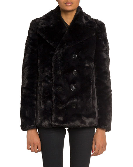 Saint Laurent Faux-Fur Double-Breasted Coat