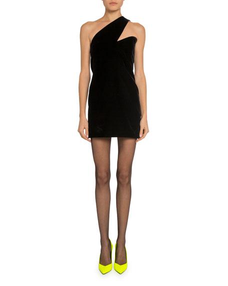 Saint Laurent Asymmetric One-Shoulder Cocktail Dress