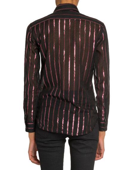 Saint Laurent Metallic Striped Semisheer Blouse
