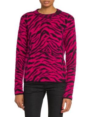f1de370fdd0e Saint Laurent Crewneck Zebra Print Fuzzy-Wool Sweater