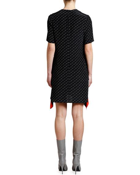 Stella McCartney Short-Sleeve Striped Peplum Monogram Dress