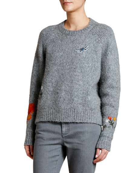 Stella McCartney Dragonfly-Embroidered Fluffy Sweater