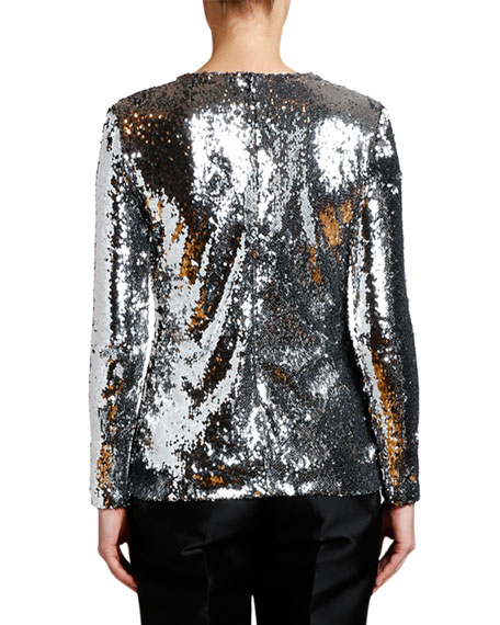 Stella McCartney Long-Sleeve Messy-Sequined Blouse