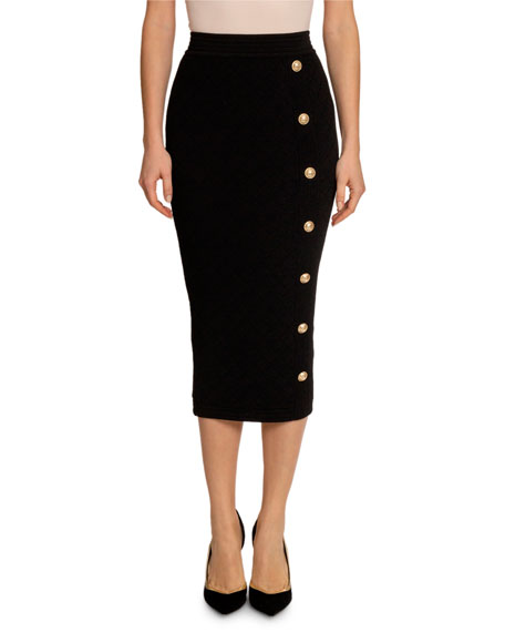 Balmain Diamond Knit Coin-Button Midi Skirt