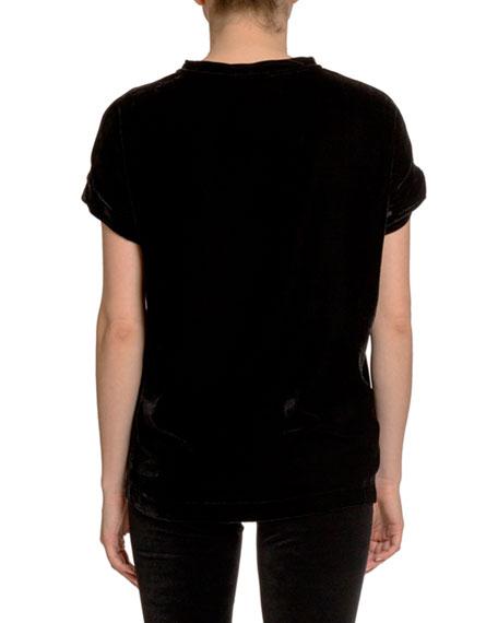 Balmain Glitter Logo Velvet T-Shirt
