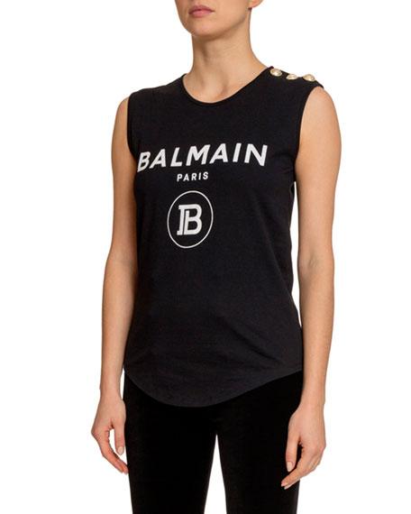 Balmain Button-Shoulder Logo Front Tee