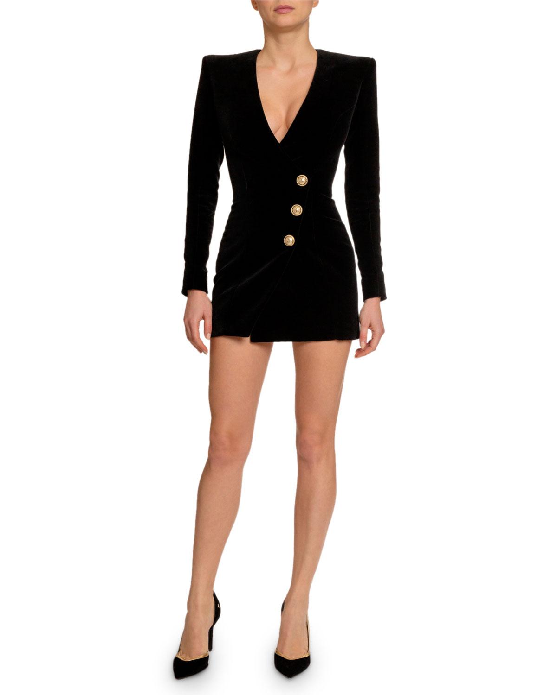 3aa4e289ad Balmain Golden-Button Velvet Fitted Mini Dress   Neiman Marcus