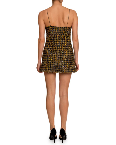 Balmain Metallic Tweed V-Neck Dress