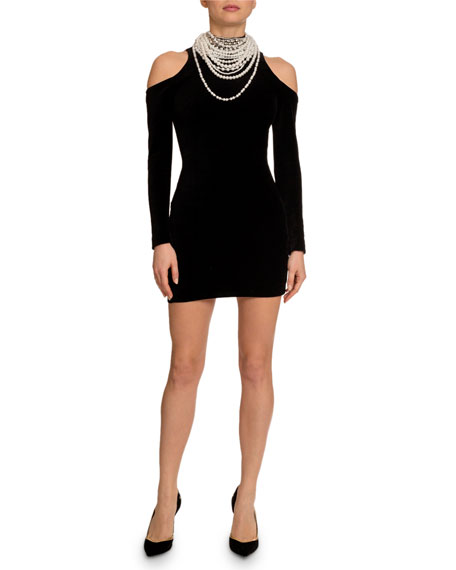 Balmain Cold-Shoulder Pearly-Neck Mini Dress