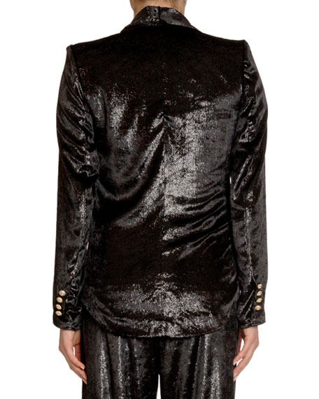 Image 2 of 2: Balmain Relaxed Velvet Pajama Jacket