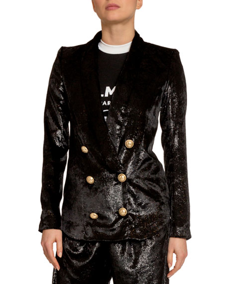 Image 1 of 2: Balmain Relaxed Velvet Pajama Jacket