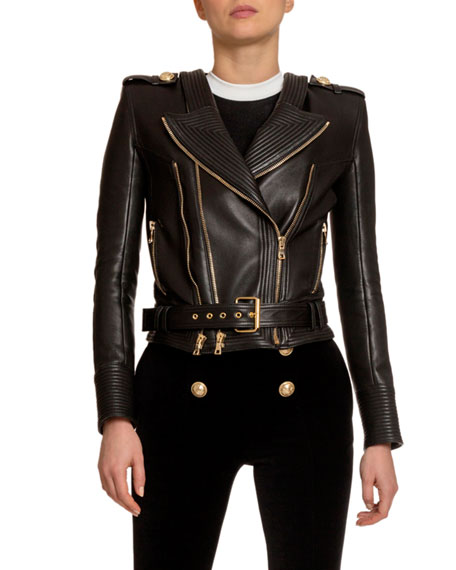 Balmain Quilted Leather Moto Jacket