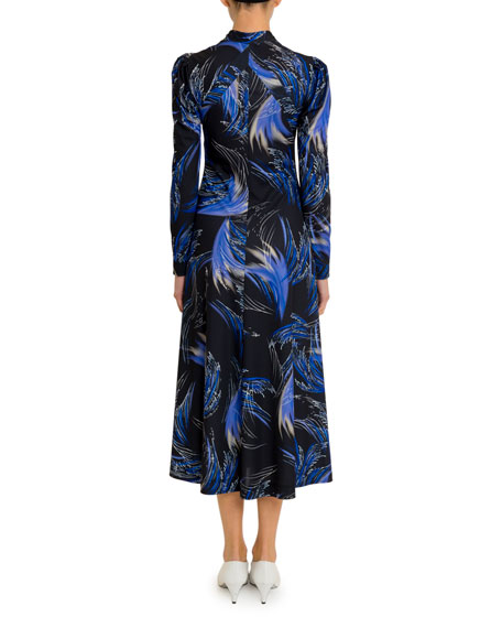 Givenchy Wave-Print Bow-Neck Midi Dress
